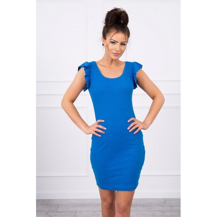 Ladies Dress with frills on the sleeve MI9098 azure blue