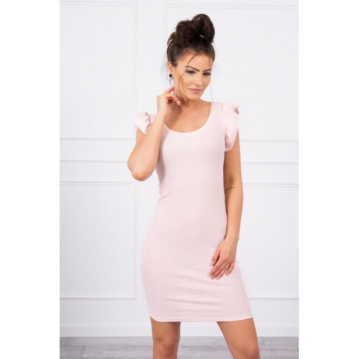 Ladies Dress with frills on the sleeve MI9098 powder pink