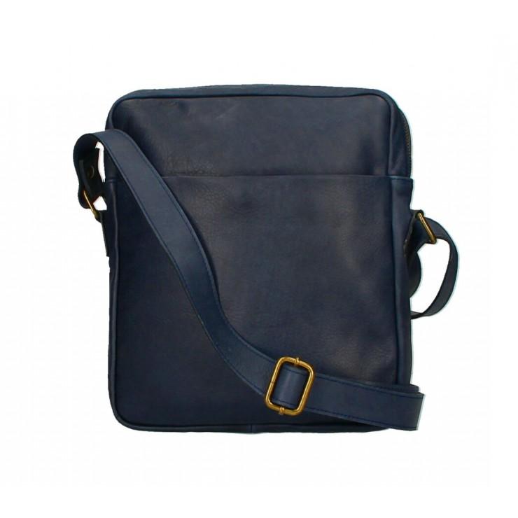 Pánska kožená taška MI66 tmavomodrá