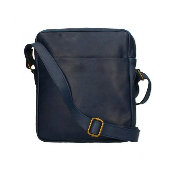 Pánska kožená taška MI66 tmavomodrá Modrá