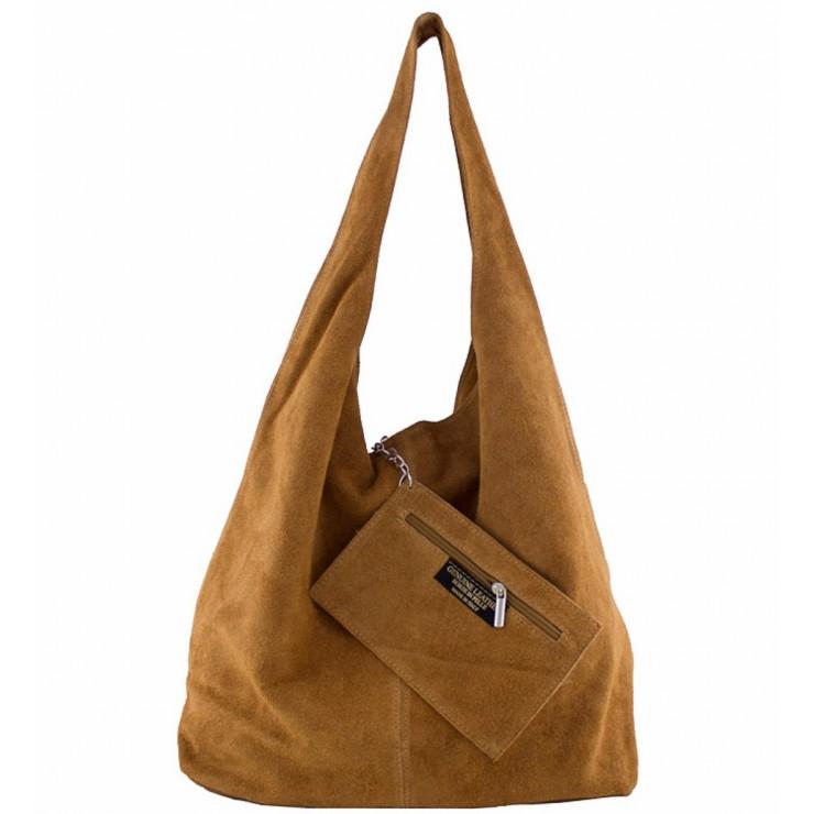 Suede Leather Maxi Bag  804A cognac