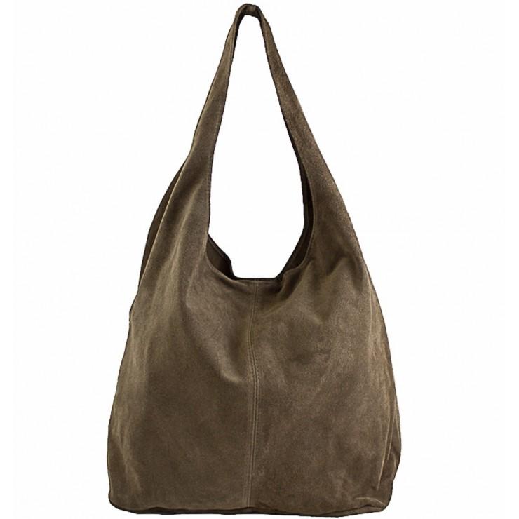 Kožená kabelka v úprave semiš 804A tmavá šedohnedá
