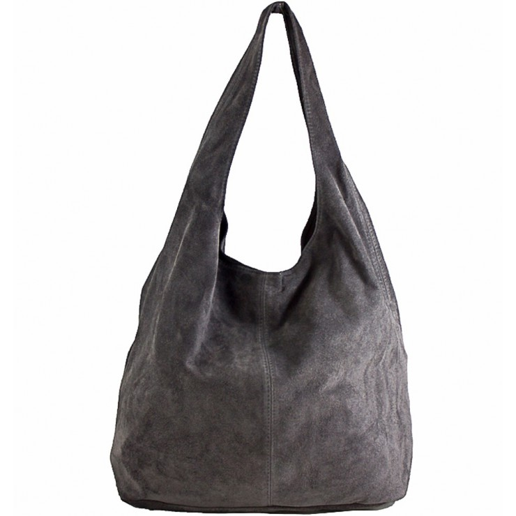 Suede Leather Maxi Bag  804A dark gray