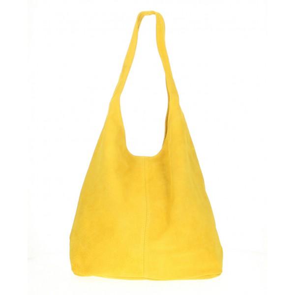 Kožená kabelka v úprave semiš 804A žltá Žltá