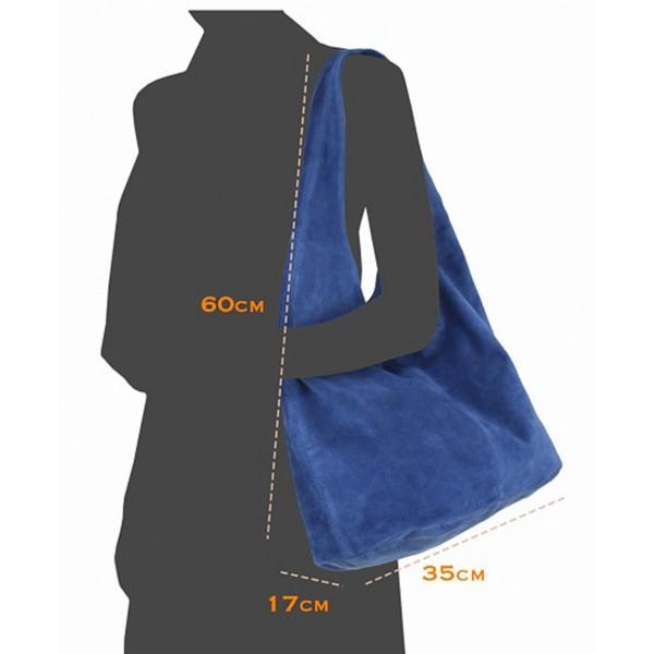Kožená kabelka v úprave semiš 804A jeans Jeans