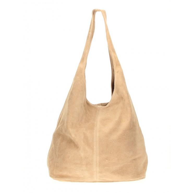 Kožená kabelka v úprave semiš 804A šedohnedá