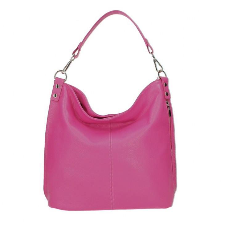 Leather shoulder bag 981 fuxia Made in Italy