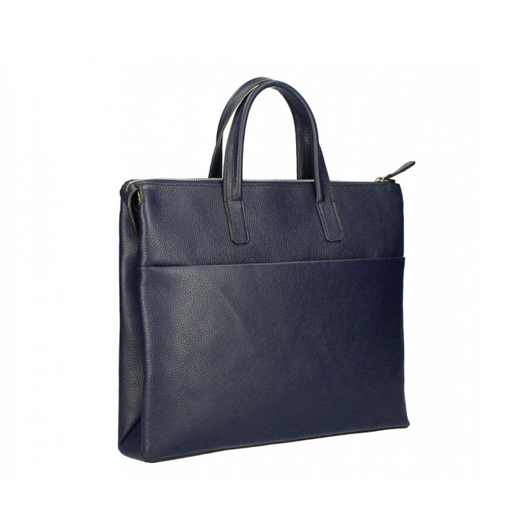 Leather Workbag MI208 dark blue Made in Italy
