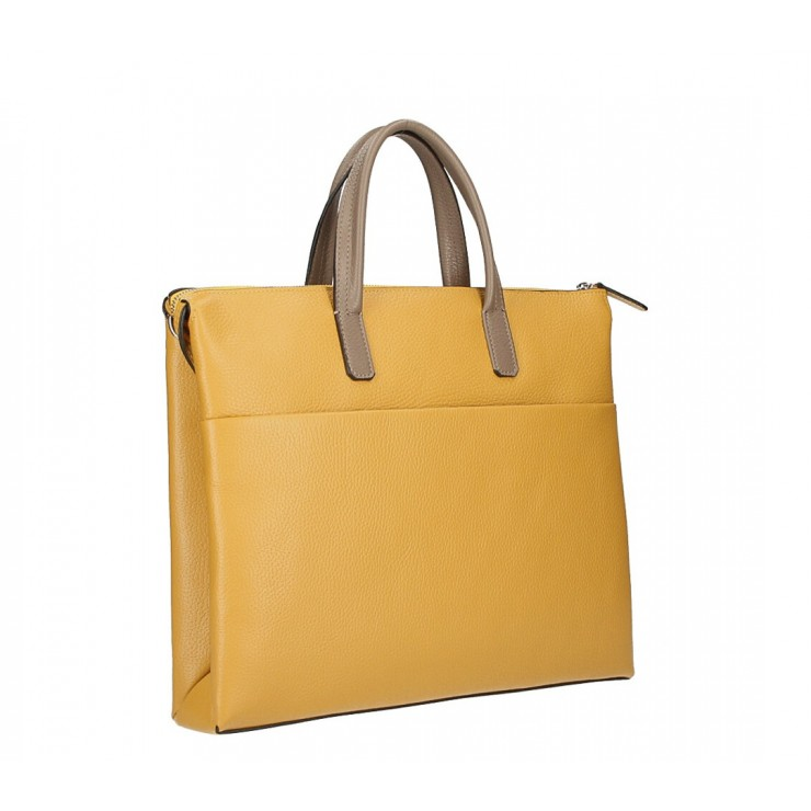Leather Workbag MI208 mustard Made in Italy