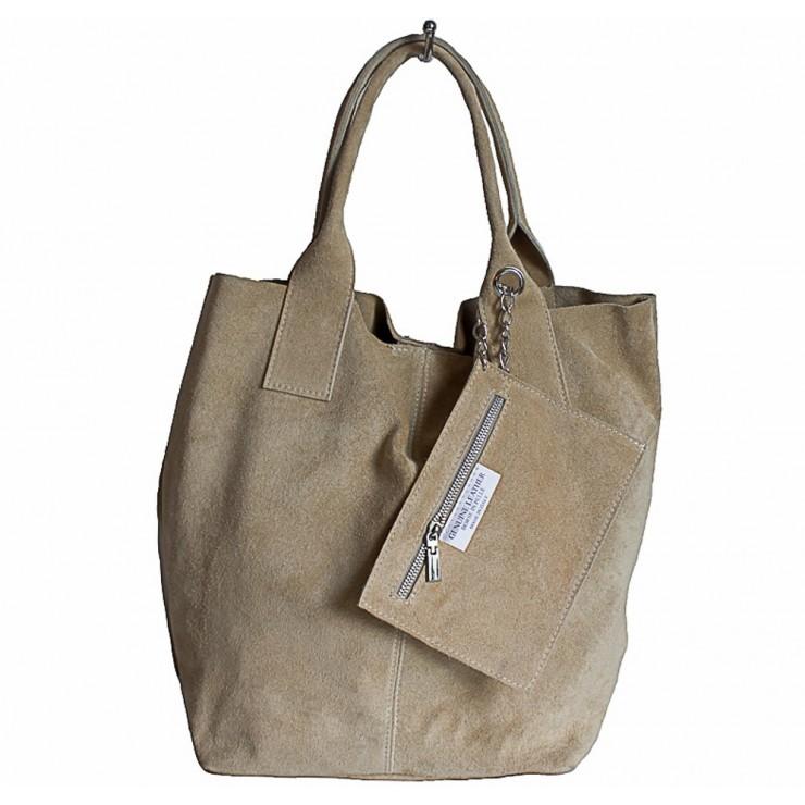 Kožená kabelka v úprave semiš 804 šedohnedá