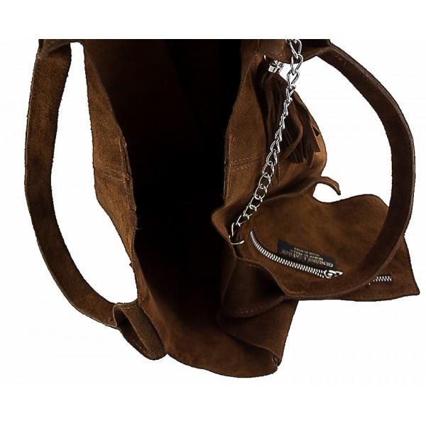 Kožená kabelka v úprave semiš 804 šedohnedá Šedohnedá