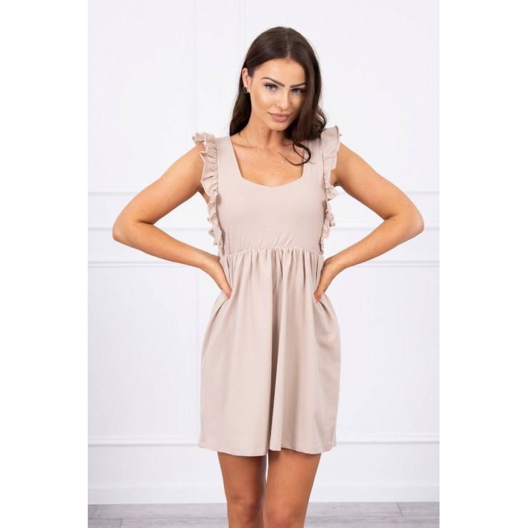 Ladies Dress with frills MI9082 beige