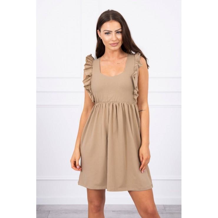Ladies Dress with frills MI9082 camel