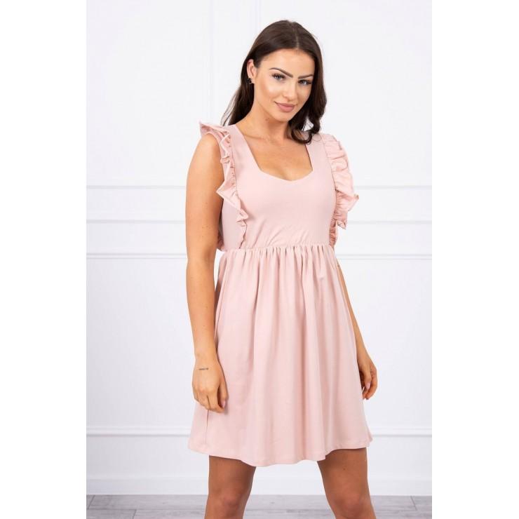 Ladies Dress with frills MI9082 powder pink