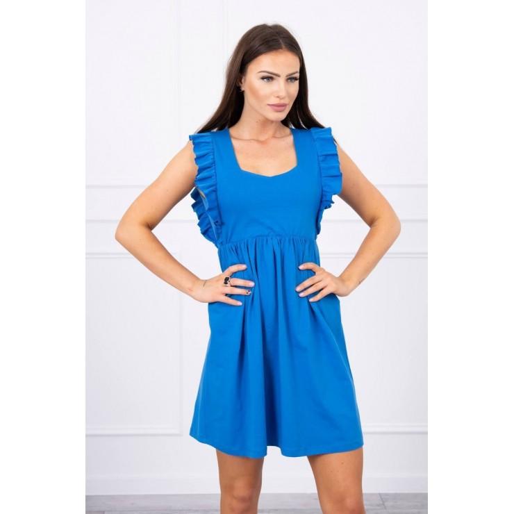 Ladies Dress with frills MI9082 blue