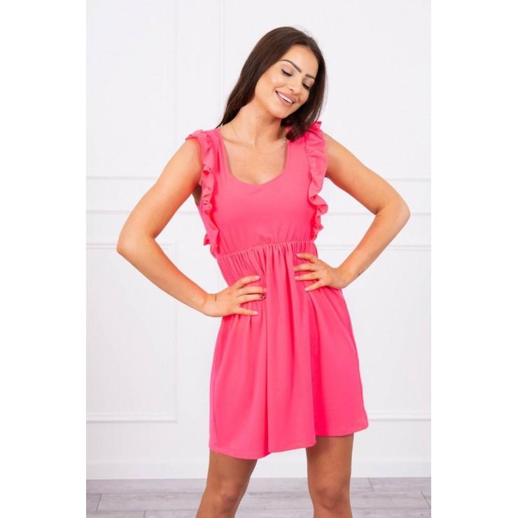 Ladies Dress with frills MI9082 pink neon