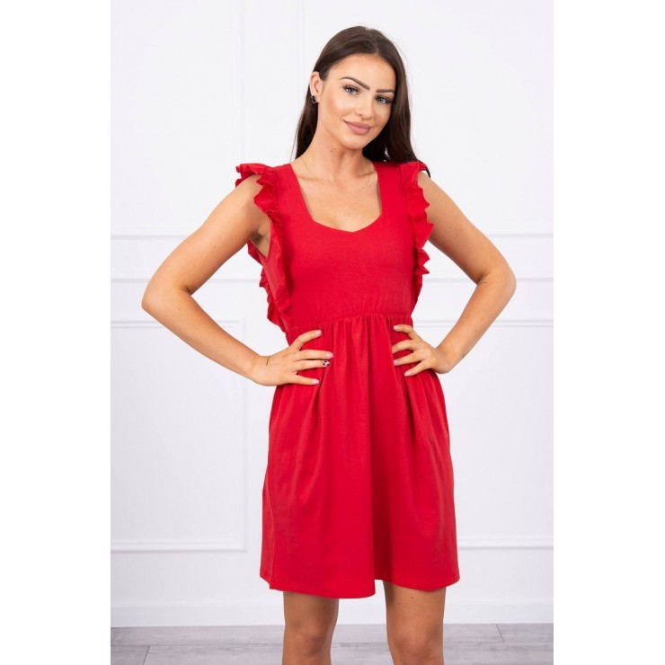 Ladies Dress with frills MI9082 red