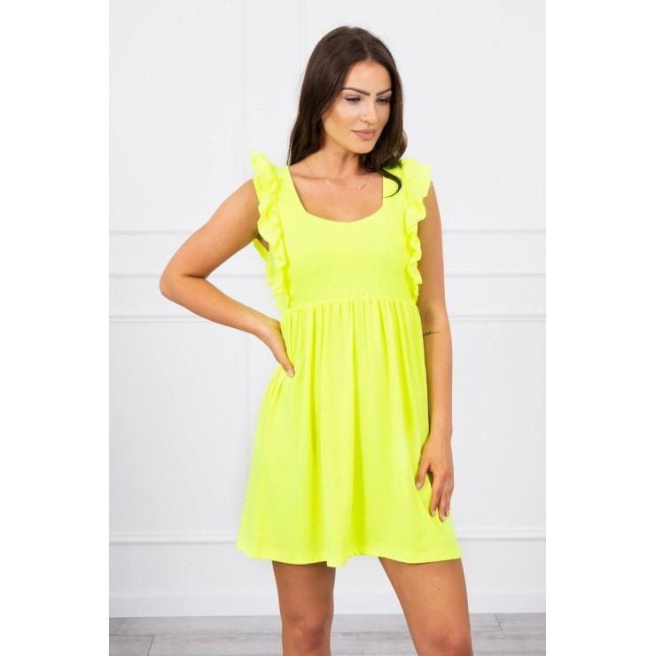 Ladies Dress with frills MI9082 yellow neon