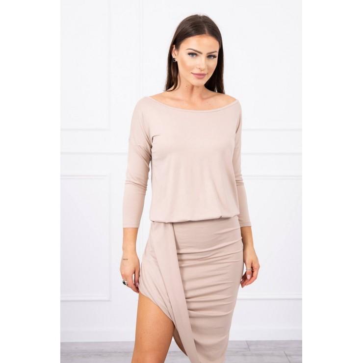 Women's asymmetrical dress MI8923 beige