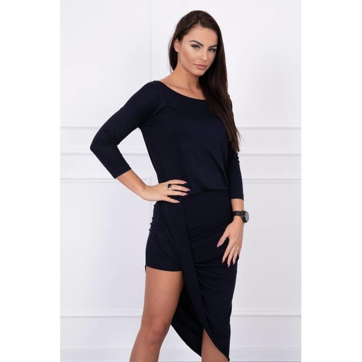 Women's asymmetrical dress MI8923 dark blue