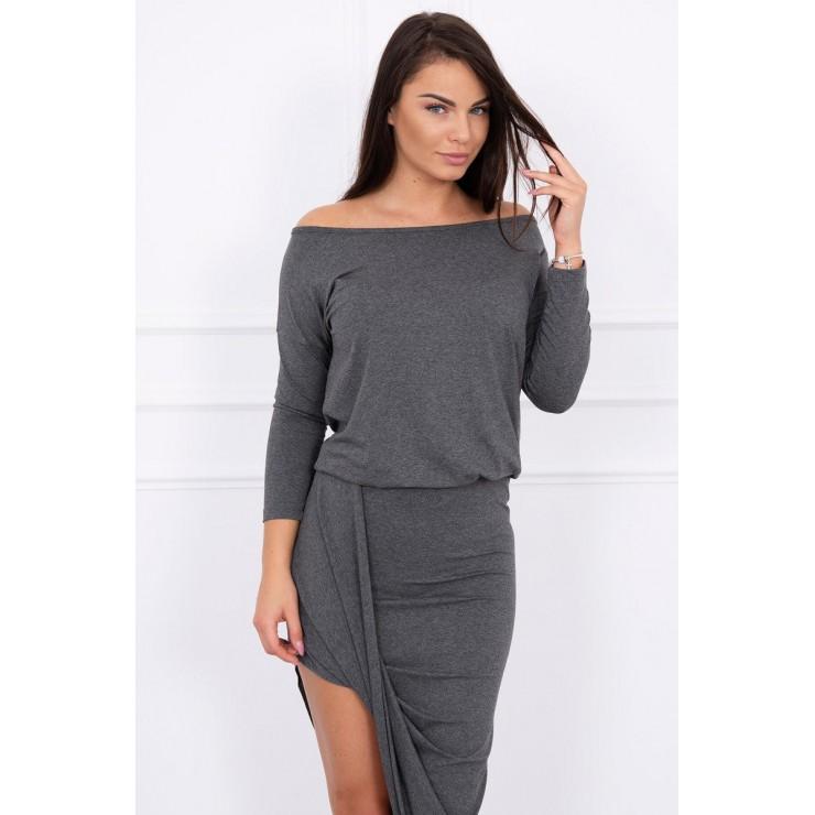 Women's asymmetrical dress MI8923 graphite gray