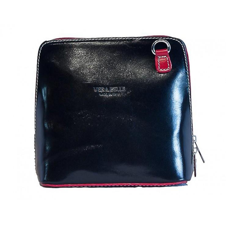 Genuine Leather Shoulder Bag 921 black + red