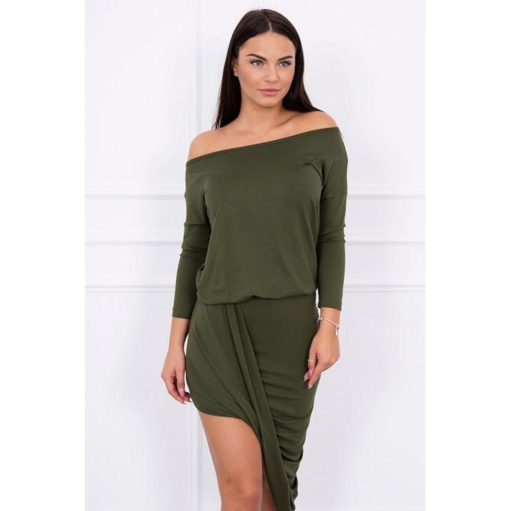 Women's asymmetrical dress MI8923 dark green