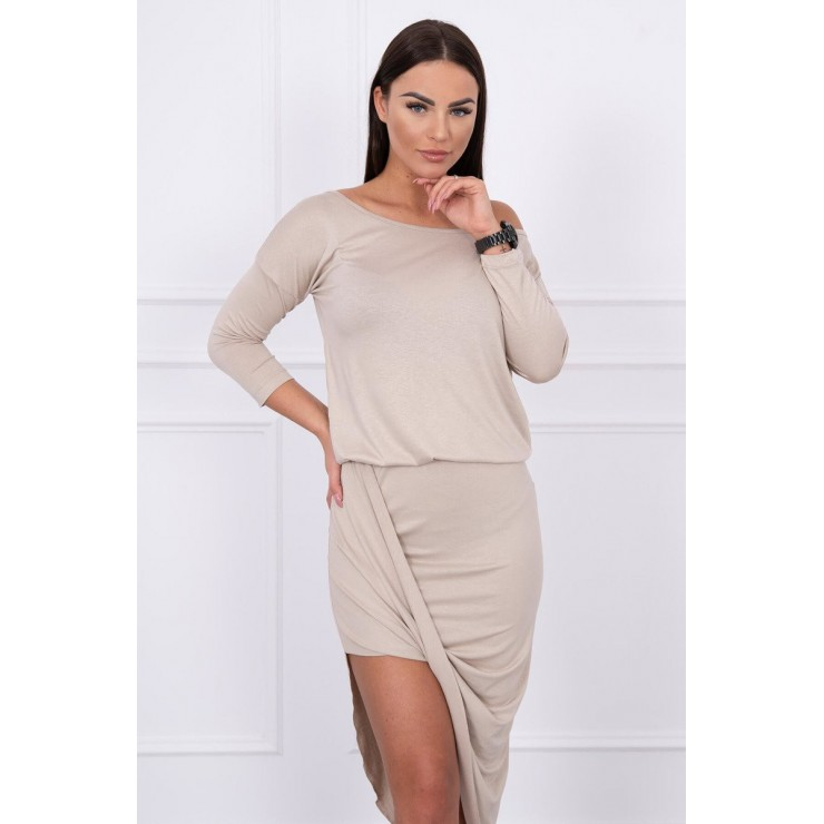 Women's asymmetrical dress MI8923 light beige