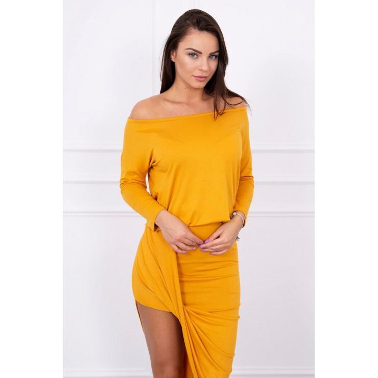 Women's asymmetrical dress MI8923 mustard