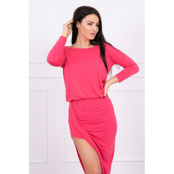 Women's asymmetrical dress MI8923 raspberry