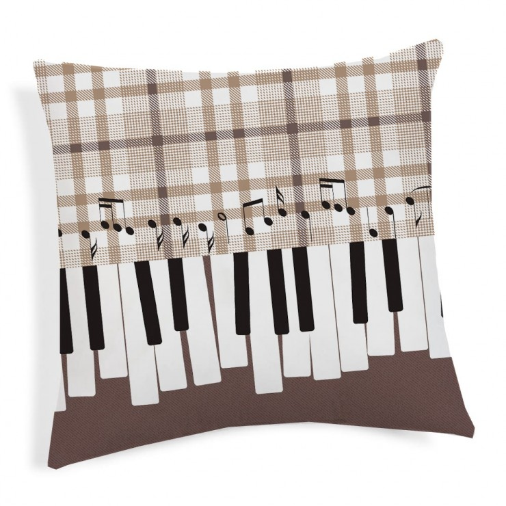 Pillowcase Music beige 40x40 cm Made in Italy
