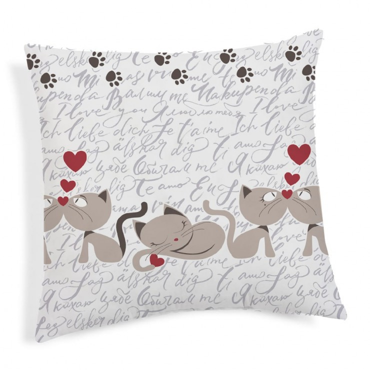 Pillowcase Kittens beige 40x40 cm Made in Italy