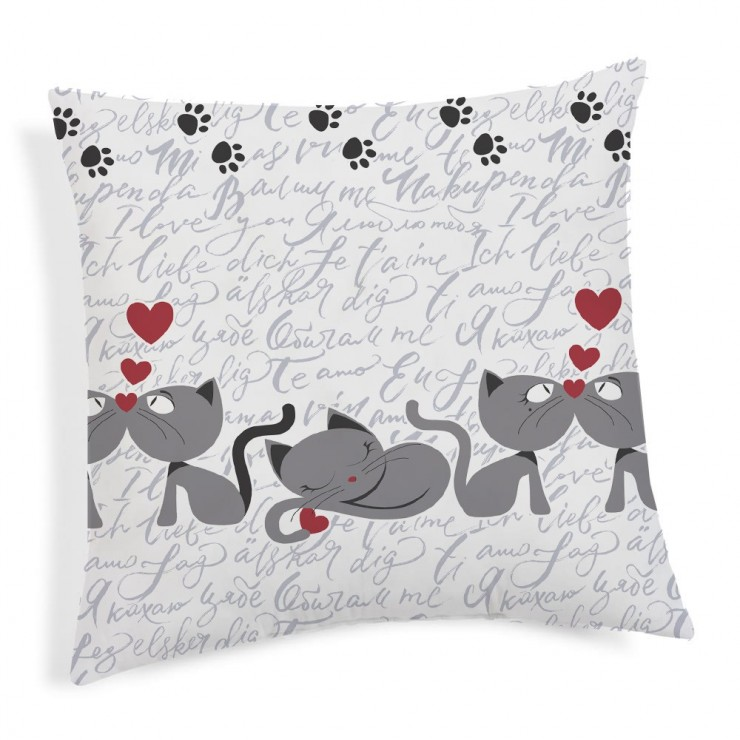 Pillowcase Kittens gray 40x40 cm Made in Italy