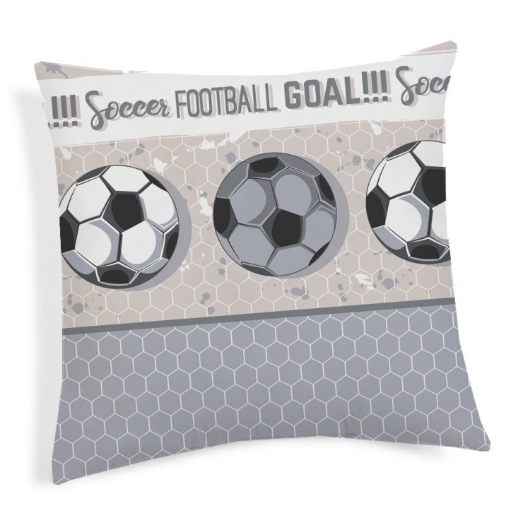 Pillowcase Football gray 40x40 cm Made in Italy