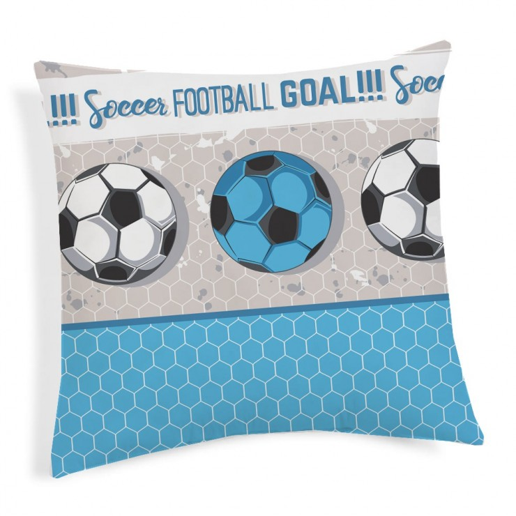 Pillowcase Football turquoise 40x40 cm Made in Italy