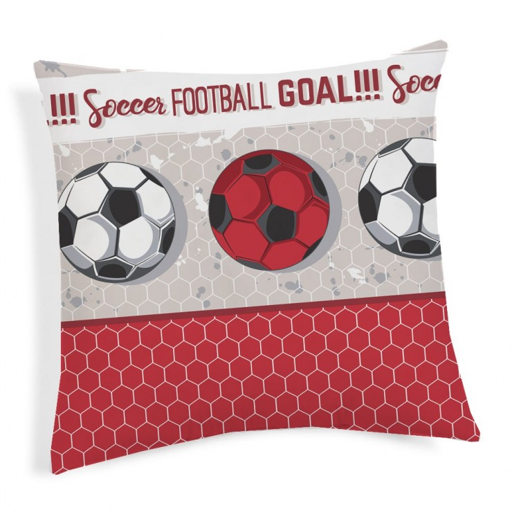Pillowcase Football red 40x40 cm Made in Italy