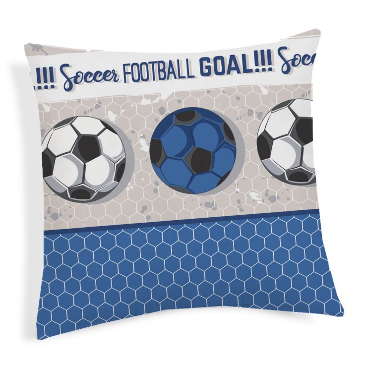Pillowcase Football blue 40x40 cm Made in Italy