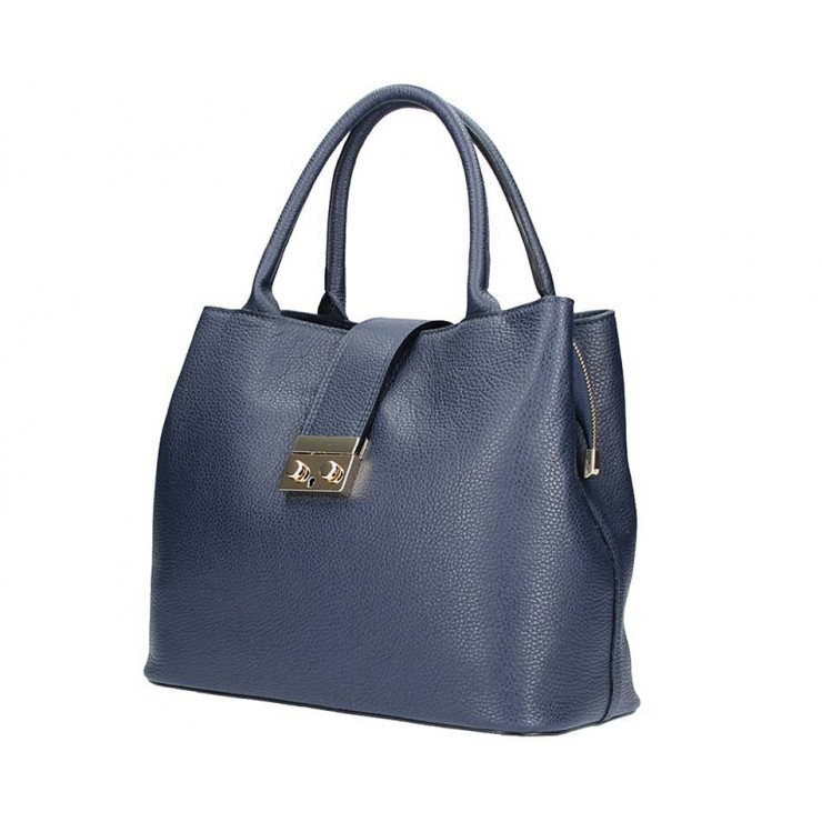 Tmavě modrá kožená kabelka 1137