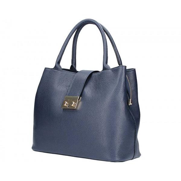 Tmavomodrá kožená kabelka 5307