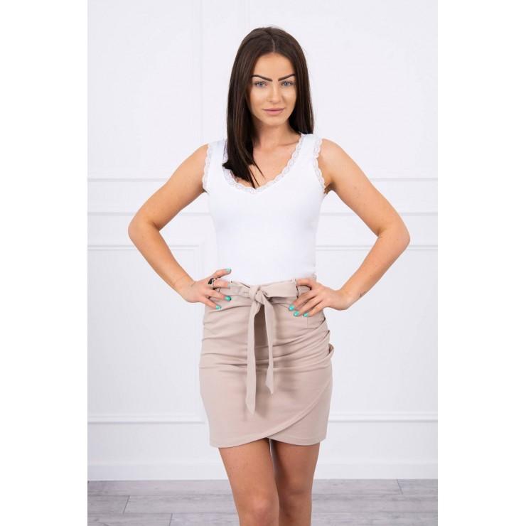 Women's skirt tied at the waist MI8984 beige