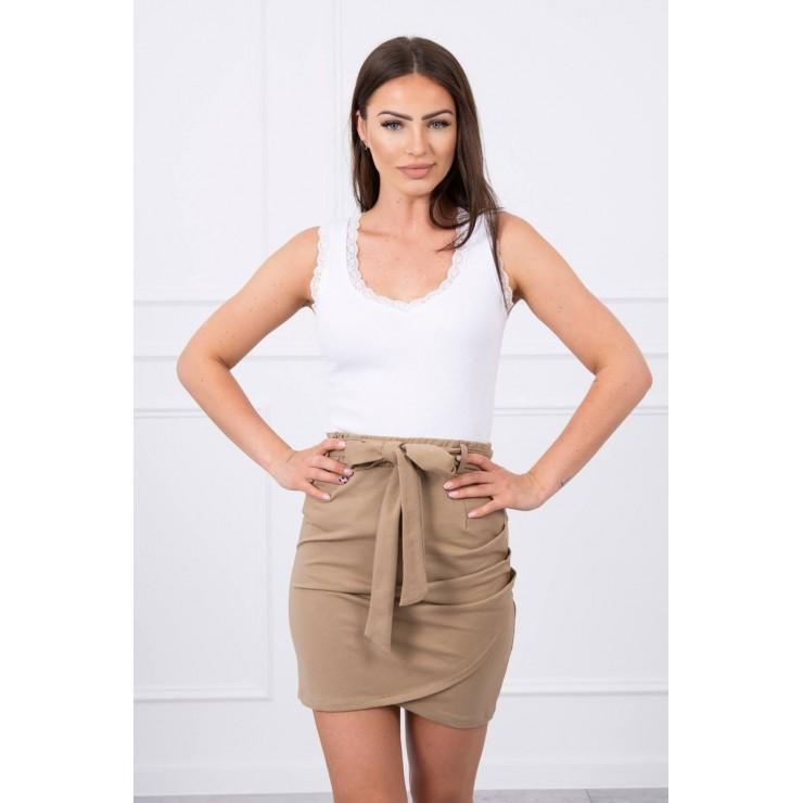 Women's skirt tied at the waist MI8984 camel