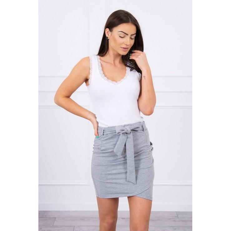 Women's skirt tied at the waist MI8984 gray