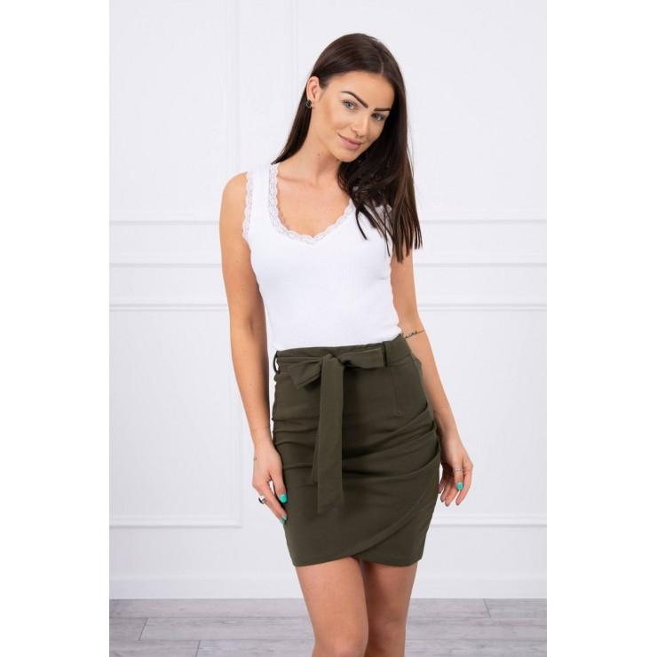 Women's skirt tied at the waist MI8984 dark green
