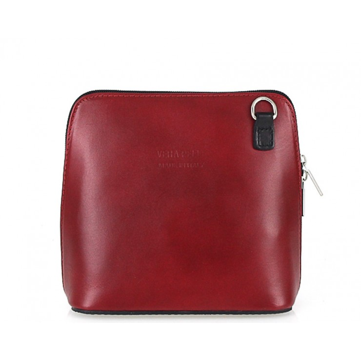 Genuine Leather Shoulder Bag 921 red + black
