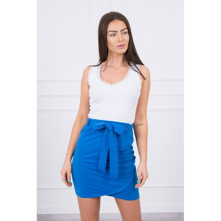 Women's skirt tied at the waist MI8984 blue