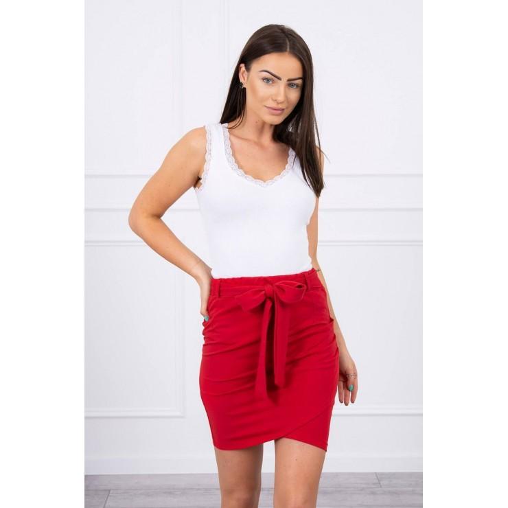 Dámska sukňa previazaná v páse MI8984 červená
