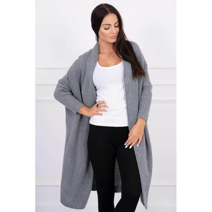 Dámsky sveter s rukávmi typ netopiera MI2019-13 šedý