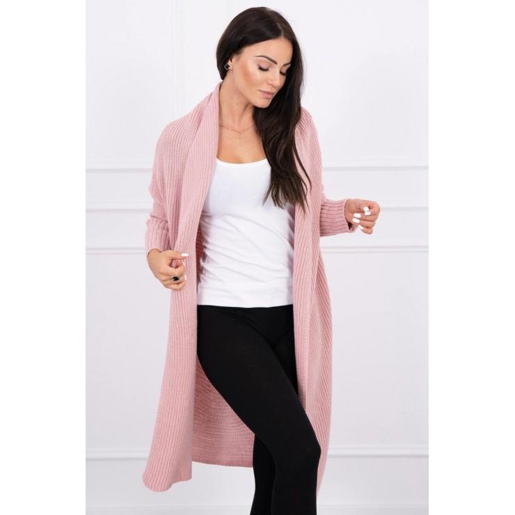 Dámsky sveter s rukávmi typ netopiera MI2019-13 pudrovo ružový