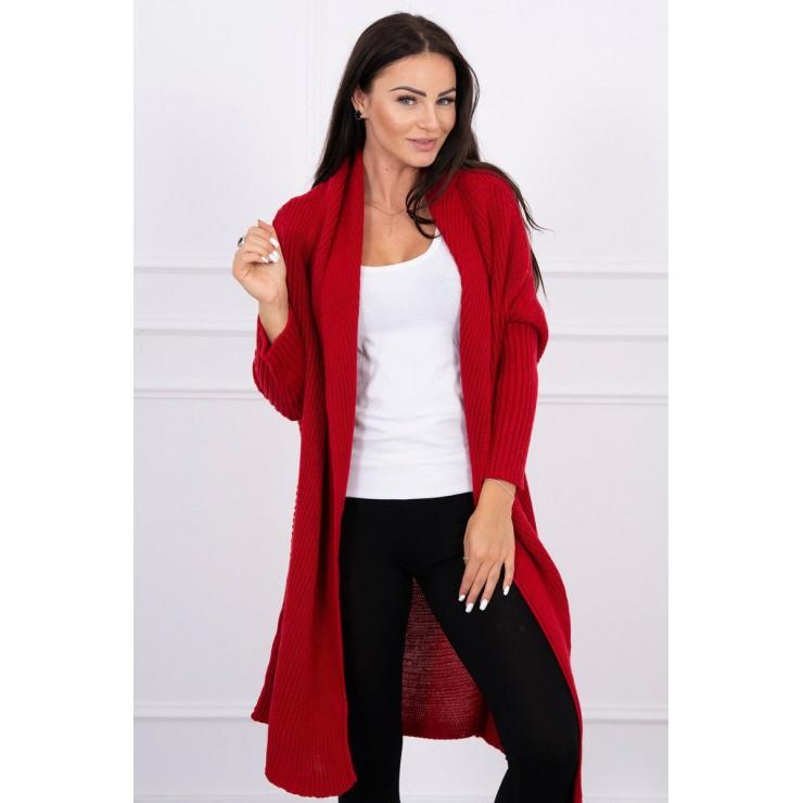 Dámsky sveter s rukávmi typ netopiera MI2019-13 červený