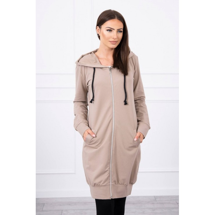 Hooded dress with e hood  MI8924 dark beige